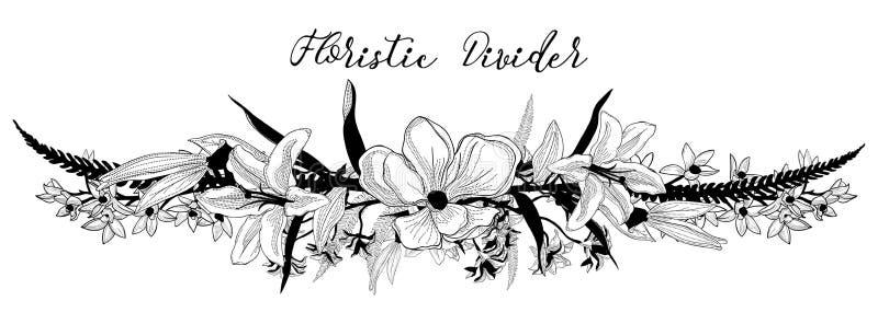 Divisor floral delicado do texto do vetor Elemento do projeto da flor ilustração stock