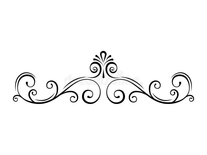 Divisor ornamental de la página Remolinos, fronteras caligráficas afiligranadas Voluta, rizos Marcos adornados decorativos Vector ilustración del vector