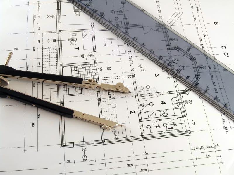 Download Divisor Y Regla En Plan Arquitectónico Foto de archivo - Imagen: 6798192