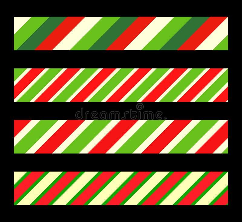 Divisore di confine della linea di canna di caramelle per natale strisce di colore rosso verde diagonale illustrazione di stock