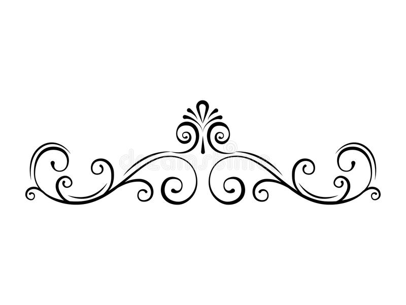 Divisore ornamentale della pagina Turbinii, confini calligrafici a filigrana Rotolo, riccioli Strutture decorate decorative Vetto illustrazione vettoriale