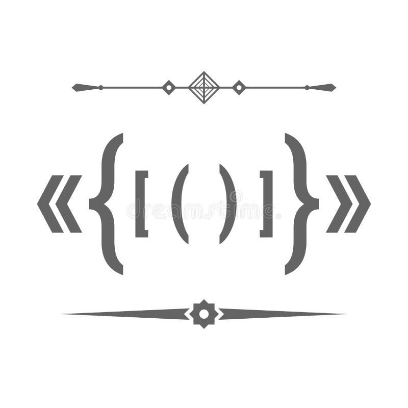 Divisores, citas, soportes y paréntesis del texto Sistema de elementos del diseño del vector para usted diseño ilustración del vector