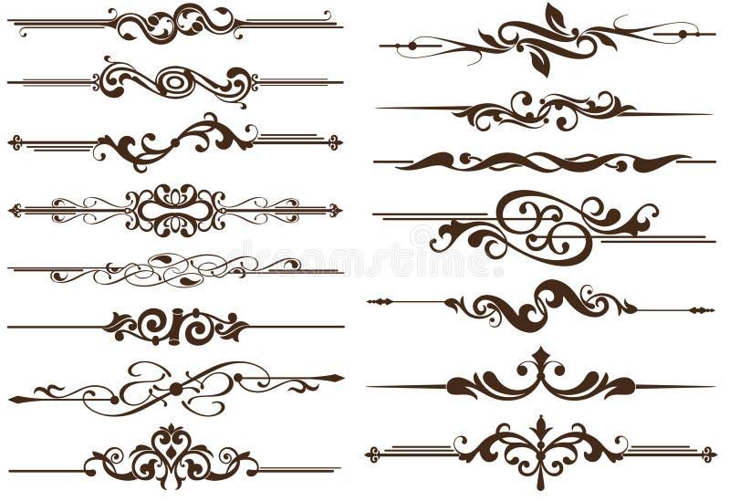 Divisores de los elementos del vintage del vector ilustración del vector