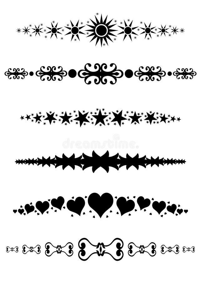 Divisores decorativos de las fronteras de los marcos stock de ilustración