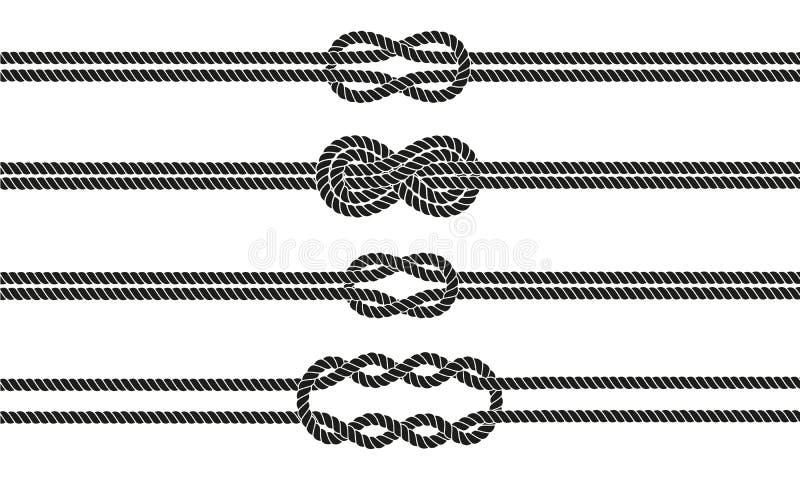 Divisores del nudo del marinero fijados ilustración del vector