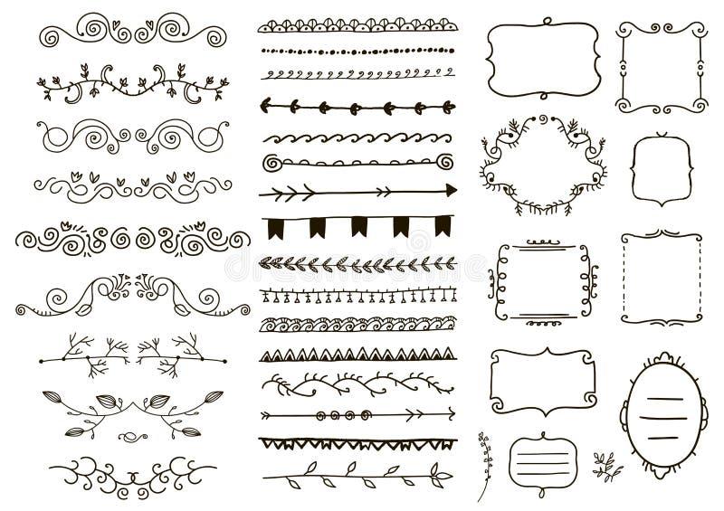 Divisores del ornamento floral del vector Mano dibujada, decoración de las vides del garabato, hojas del bosquejo, remolino, orna stock de ilustración