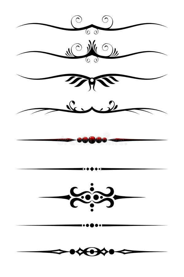 Divisores del texto fijados ilustración del vector