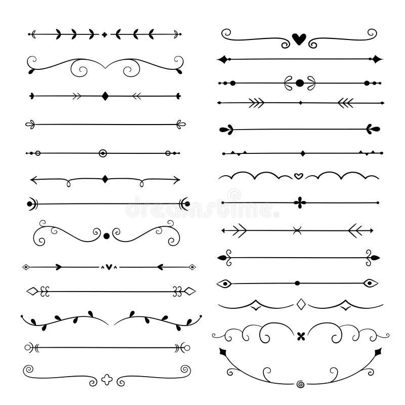 Divisores dibujados mano Línea fronteras del vintage de los elementos del diseño Decoración adornada caligráfica Divisor retro, s ilustración del vector
