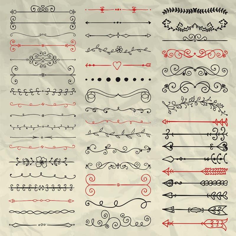Divisores dibujados mano, ramas, remolinos en arrugado ilustración del vector
