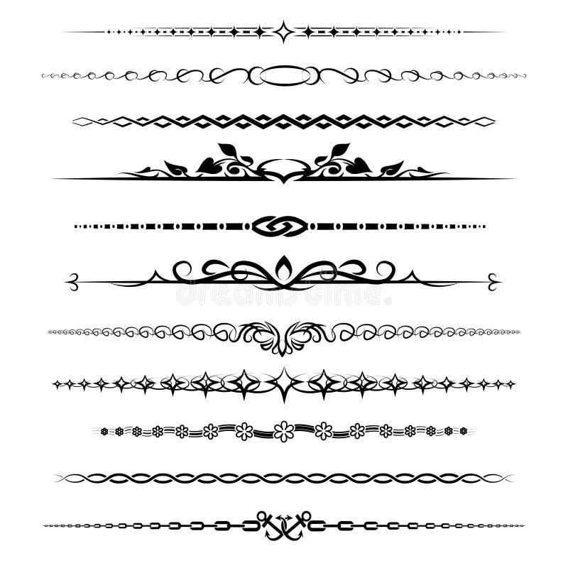 Divisores do capítulo ajustados ilustração stock
