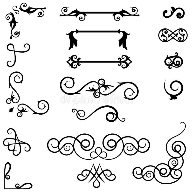 Divisores do ornamento do redemoinho Elementos decorativos tirados mão, delimitador velho do texto, ornamento caligráficos da bei ilustração do vetor
