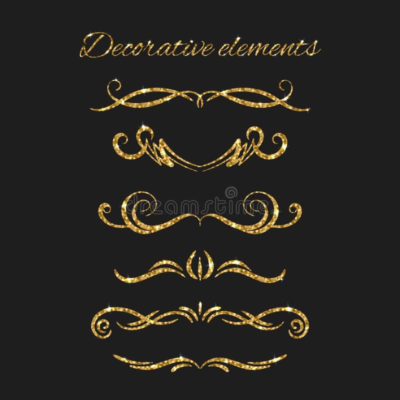 Divisores do texto do ouro ajustados Elementos decorativos decorativos ilustração royalty free