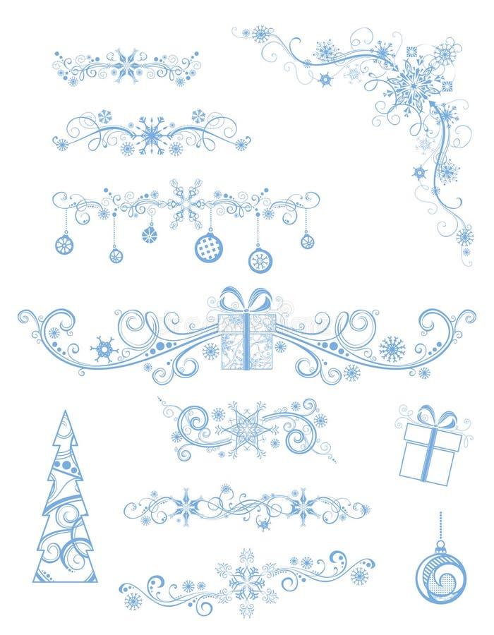Divisores e decorações da página do Natal no fundo branco ilustração royalty free