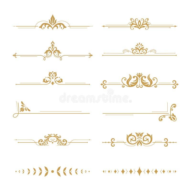 Divisores elegantes del damasco El divisor de la flor del boutique del vintage, el ornamento floral del oro y el libro de la boda stock de ilustración