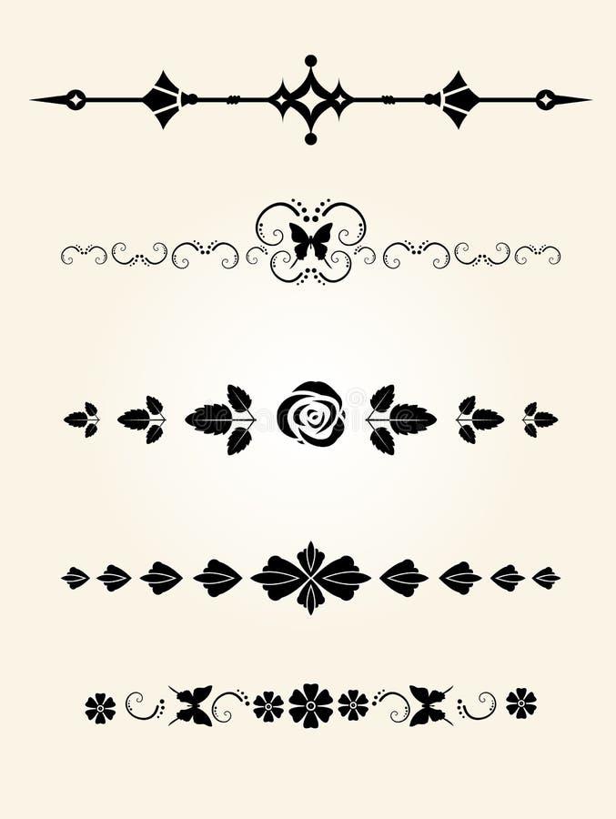 Divisores florales decorativos ilustración del vector