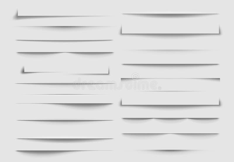 Divisores isolados da sombra Sombras rejeitadas pela folha de papel Ilustração do vetor ilustração do vetor