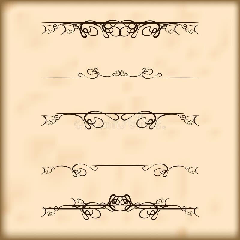 Divisores retros e decorações do texto dos elementos do projeto ilustração do vetor