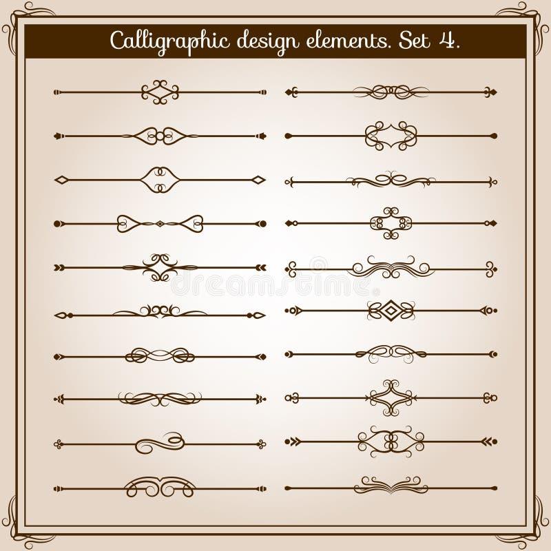 Divisores simples retros de la página de la voluta Vintage del vector que separa elementos libre illustration