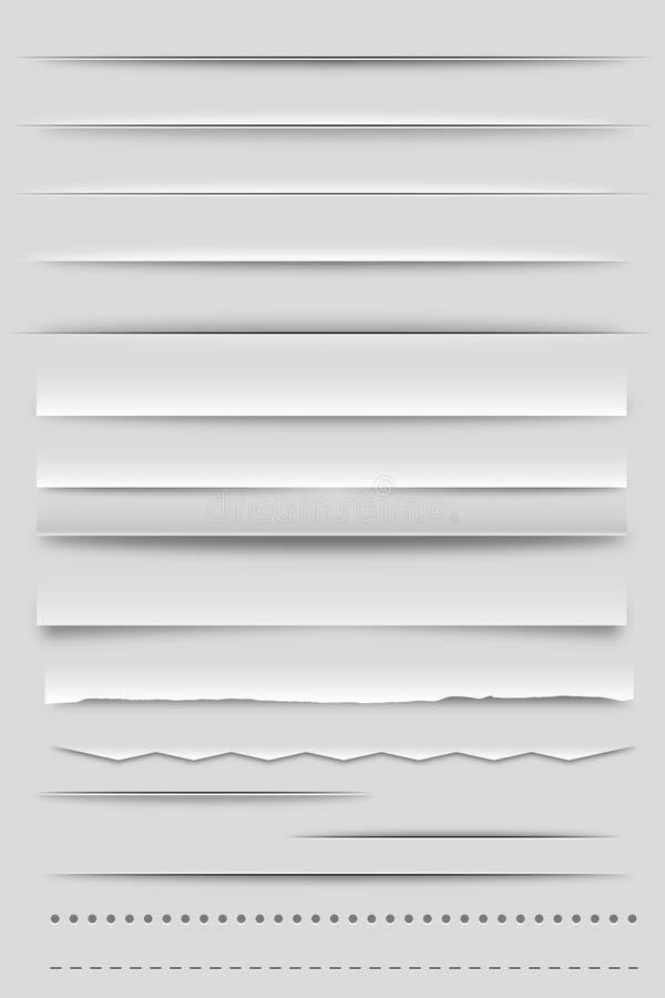 Divisores y sombras del Web ilustración del vector