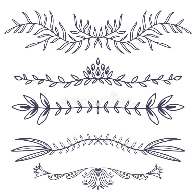 Divisori dell'ornamento floreale Decorazione disegnata a mano Foglie ornamentali rustiche Fiorisca i divisori decorativi illustrazione di stock