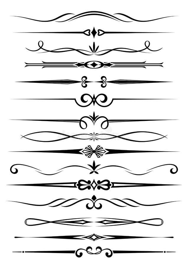 Divisori e bordi dell'annata illustrazione di stock