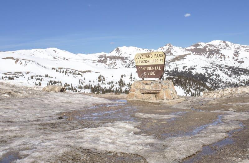 Divisoria continental, paso de Loveland, Colorado imagen de archivo
