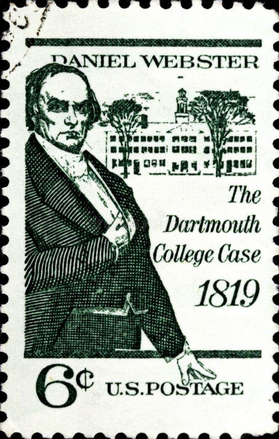 02 08 2020 Divnoe Stavropol Territory俄罗斯邮票美国1969 Dartmouth College Case Daniel Webster和 免版税图库摄影
