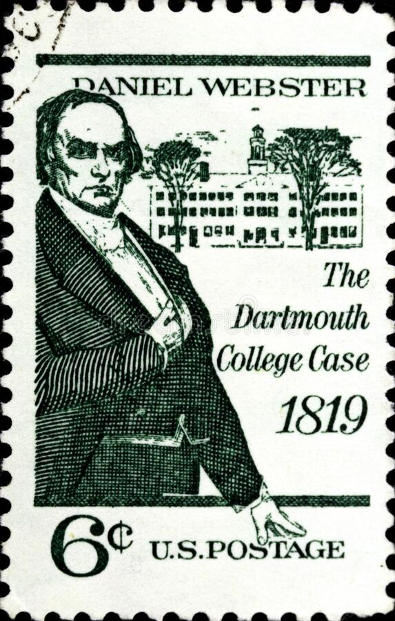 02 08 2020 Divnoe Stavropol Territory Russia the Postage Stamp United States 1969 Dartmouth College Case Daniel Webster and. 02 08 2020 Divnoe Stavropol royalty free stock photography