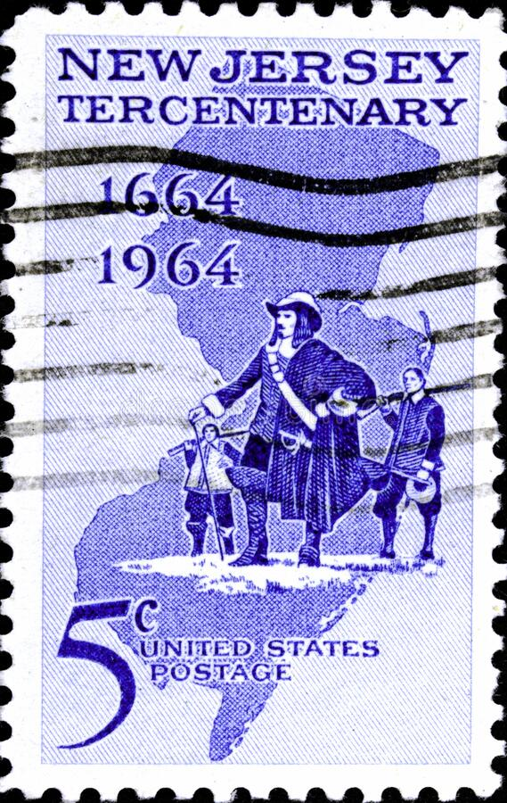 02 10 2020 Divnoe Stavropol Territory Russia the Postage Stamp United States 1964 New Jersey Settlement 1664-1964 Philip Carteret. 02 10 2020 Divnoe Stavropol royalty free stock photography
