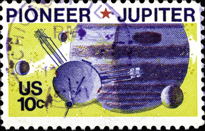 02.09.2020 Divnoe Stavropol Territory Russia Postage Stamp United States 1975 Space Pioneer 10 Passing Jupiter spacecraft against. The backdrop of the planet stock image