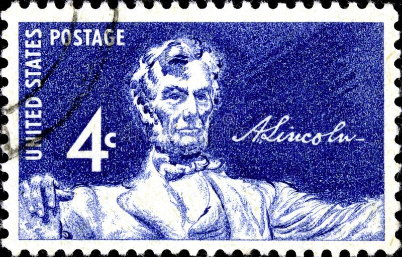 02 10 2020 Divnoe Stavropol Territory Russia Postage Stamp United States 1959 Statue in Lincoln Memorial Daniel Chester French. Statue of Lincoln by Fritz Busse royalty free stock photos