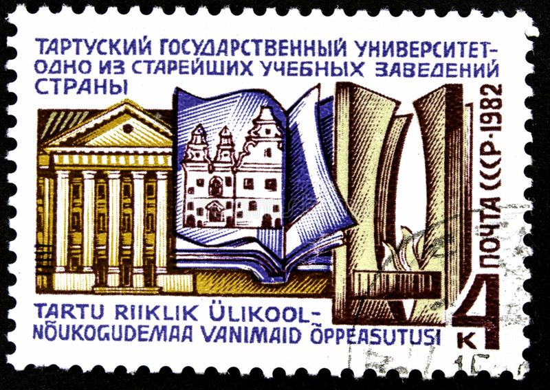 10.24.2019 Divnoe Stavropol Territory Russia postage stamp USSR 1982 Tartu State University one of the oldest educational stock images