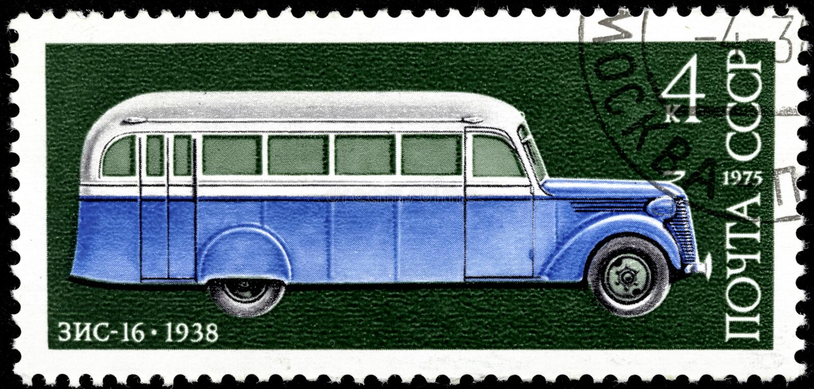 11 14 2019 Divnoe Stavropol Territory Russia postage stamp USSR 1975 ZIS-16 1938 bus on the green background royalty free stock images