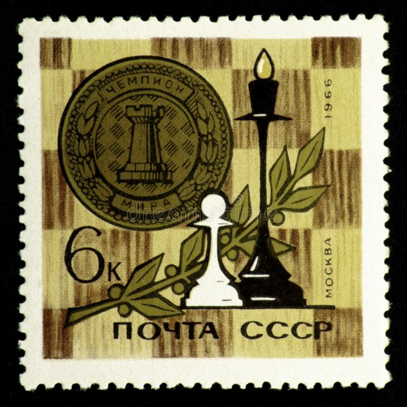 07.24.2019 Divnoe Stavropol Territory Russia - USSR postage stamp 1966. Moscow World Chess Championship White pawn and black queen stock illustration