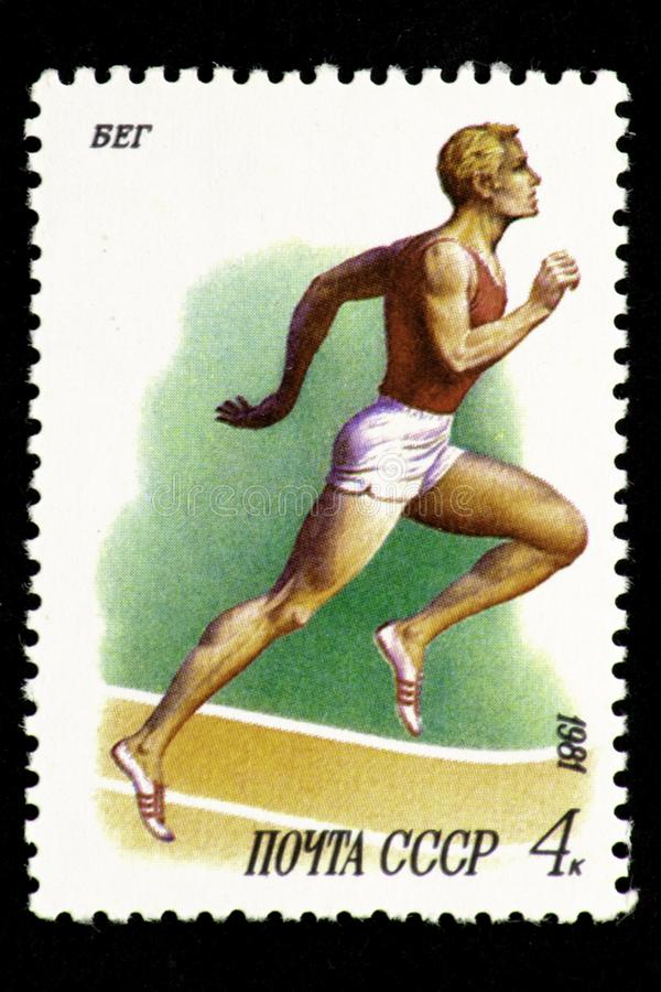 07.24.2019 Divnoe Stavropol Territory Russia - USSR postage stamp 1981. Run. Runner running on a treadmill on a white background stock illustration