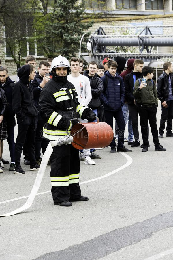 04 24 2019. Divnoye, Stavropol Territory, Russia. Demonstrations of rescuers and firefighters of a local fire department in the. 04 24 2019. Divnoye, Stavropol stock photography
