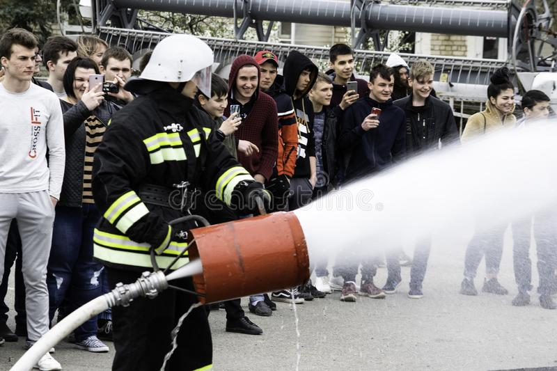 04 24 2019. Divnoye, Stavropol Territory, Russia. Demonstrations of rescuers and firefighters of a local fire department in the. 04 24 2019. Divnoye, Stavropol stock image