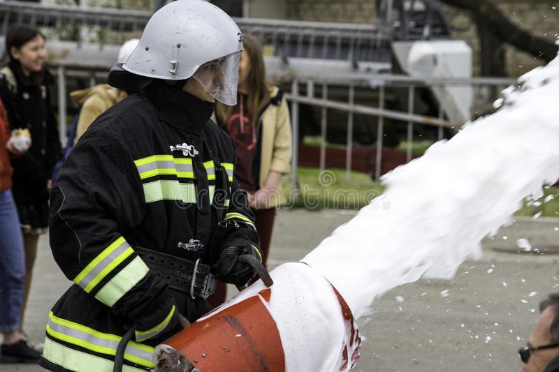 04 24 2019. Divnoye, Stavropol Territory, Russia. Demonstrations of rescuers and firefighters of a local fire department in the. 04 24 2019. Divnoye, Stavropol stock photos