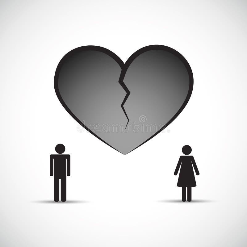 Divorcíese el corazón quebrado del concepto de la angustia con el hombre y la mujer libre illustration