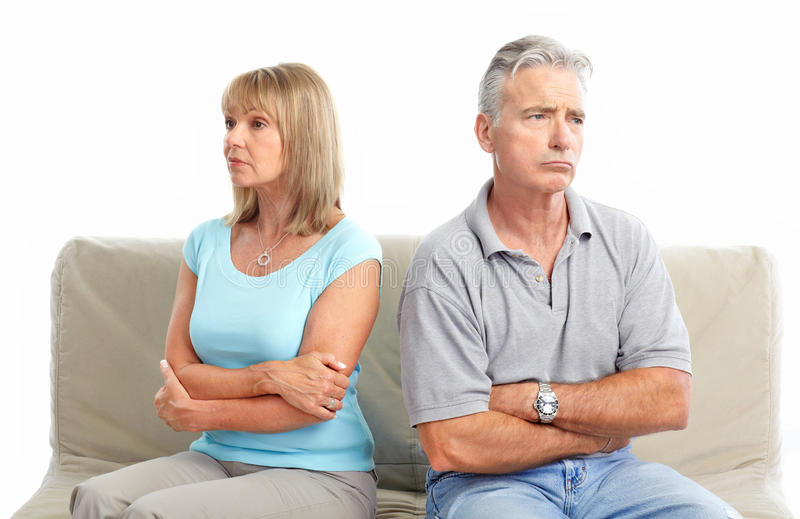Divorce. Sad elderly couple. Divorce. Isolated over white background