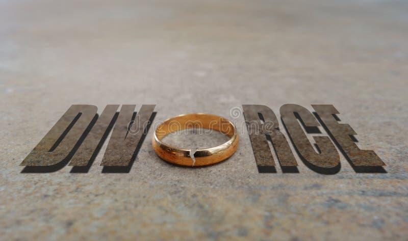 Divorce d'anneau d'or photo stock