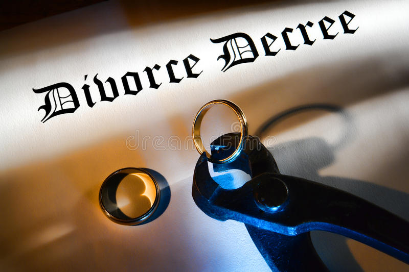 Divorce Decree and Pliers Cutting a Wedding Ring