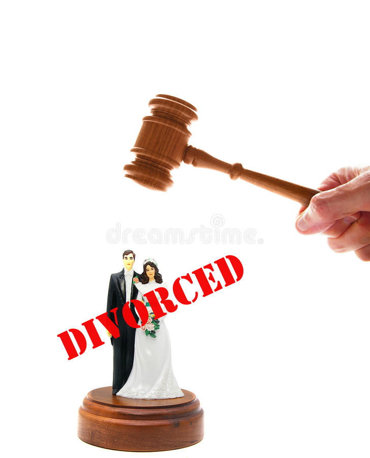 Divorce judgment. Wedding couple figures and court gavel, on white stock photos