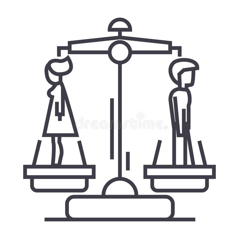 Divorce,man opposite woman vector line icon, sign, illustration on background, editable strokes royalty free illustration