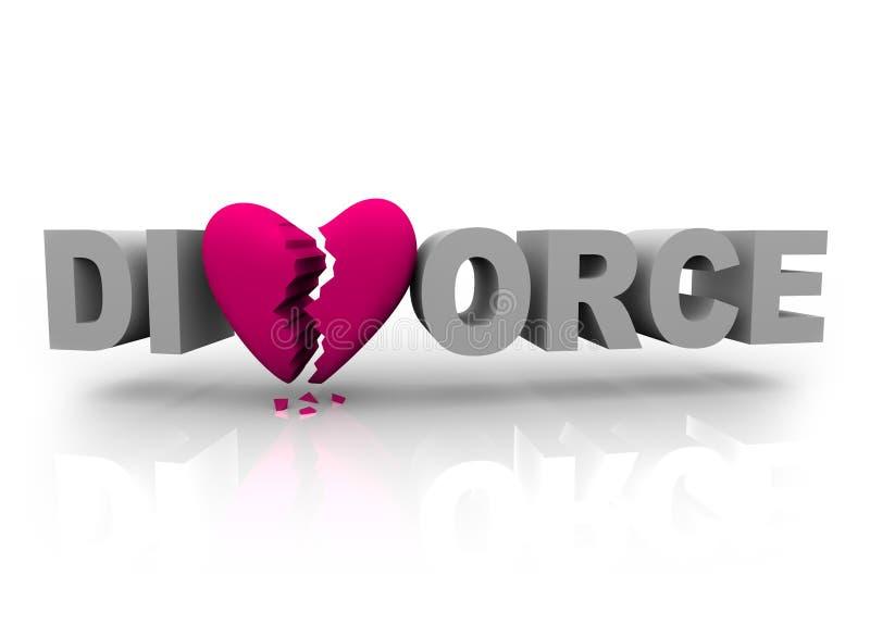 Divorce - mot avec le coeur cassé illustration de vecteur