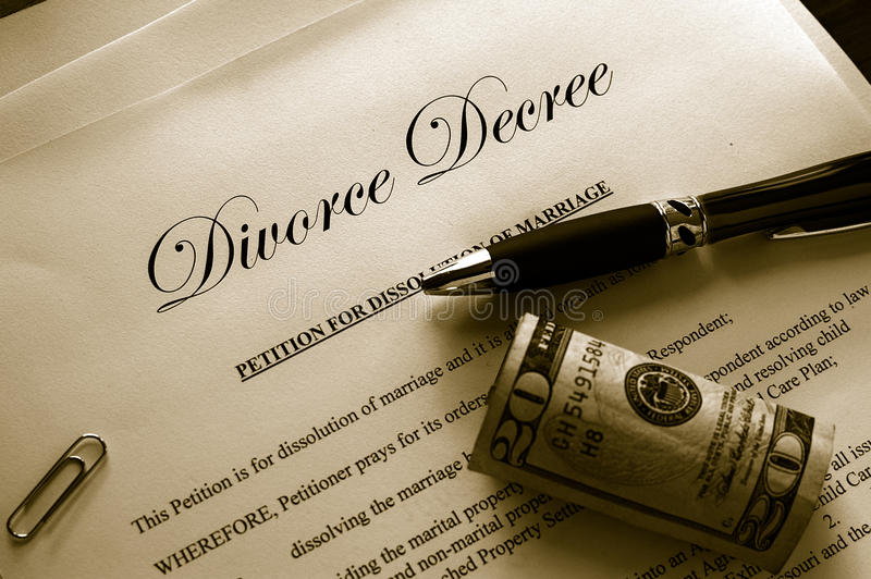 Divorce papers. And cash with misc items stock photos