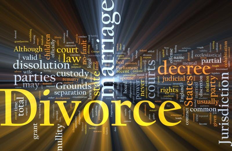 Divorce Word Cloud Glowing Royalty Free Stock Image