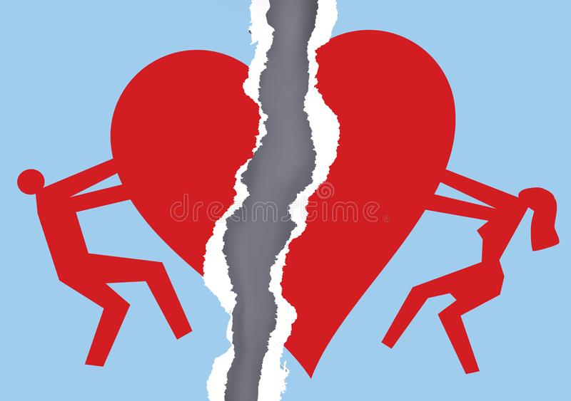 Divorced couple ripped paper with heart symbol. royalty free illustration