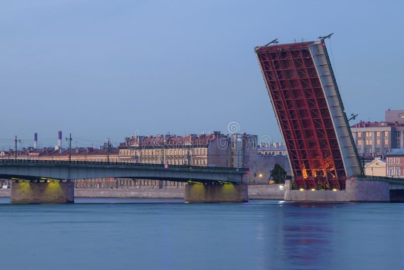 The divorced Liteyny Bridge. White nights in St. Petersburg. Russia royalty free stock photo
