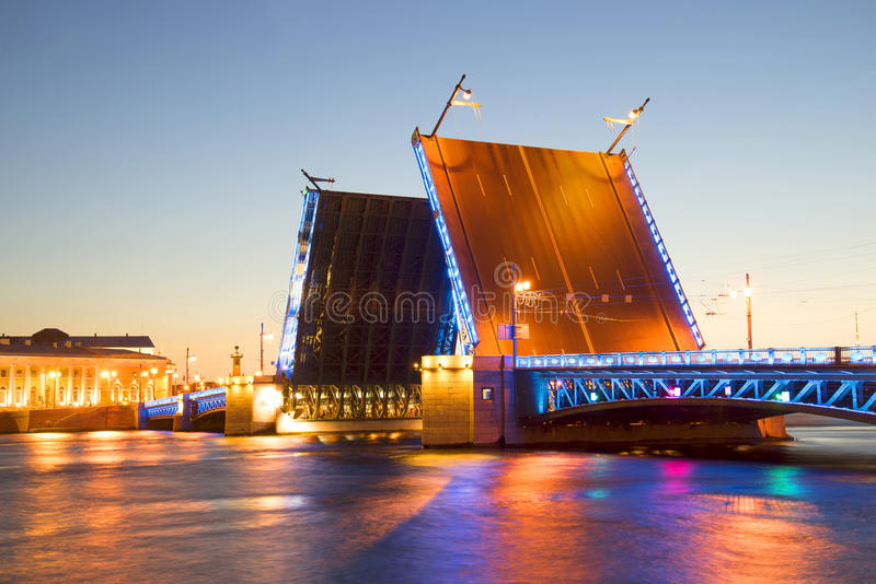 Divorced Palace Bridge with blue backlight white night. St. Petersburg. Russia royalty free stock photography